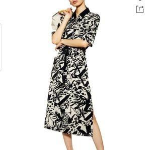Topshop Front Zip Midi Shirt Dress Black sz 14